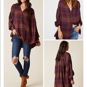 Free People NWOT Come On Over Flannel Tunic